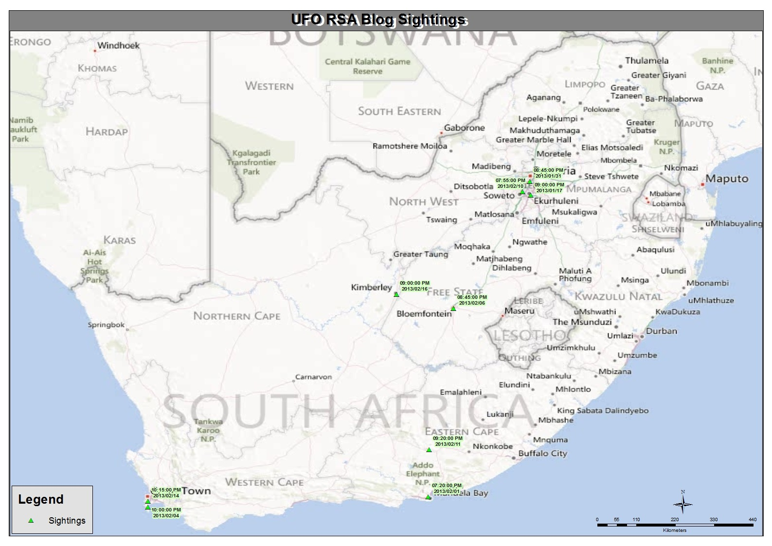 ufo sightings in south africa february 2013 map
